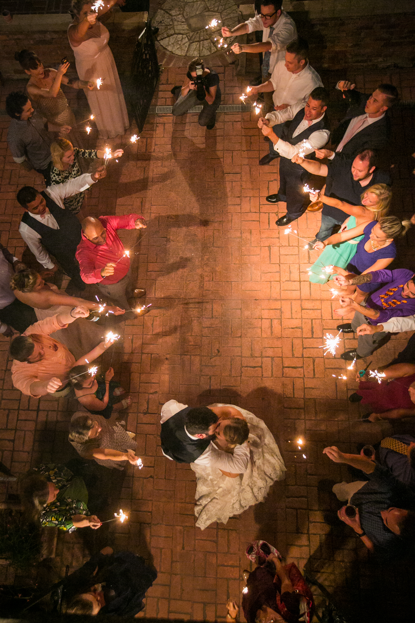 Bride and groom exit from above at the Millstone at Adam's Pond