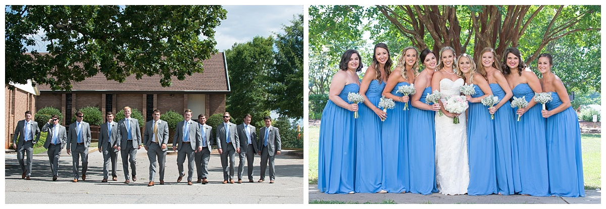 Bridal party in teal blue