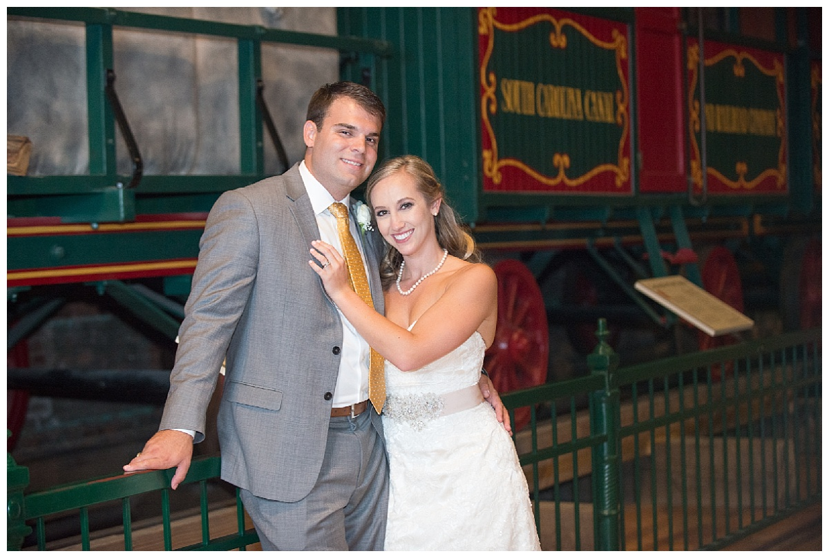 SC State Museum wedding bride and groom by train