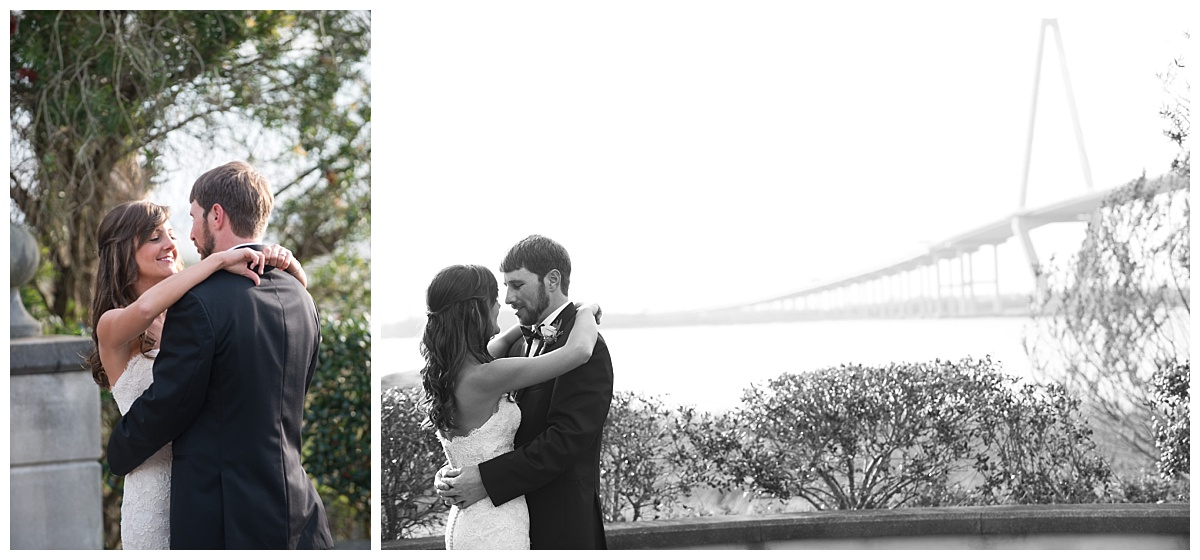 Charleston wedding first look by Ravenel bridge