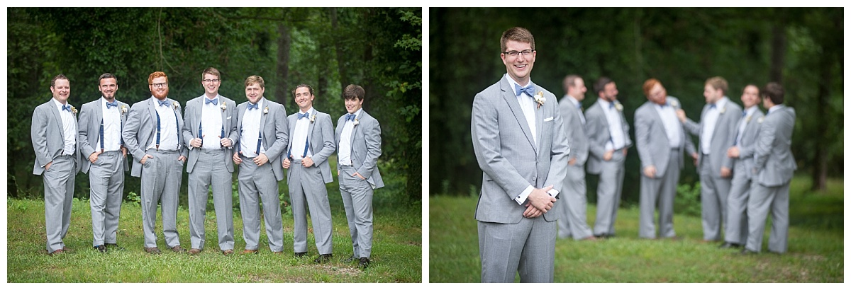 Groomsmen in grey suits with suspenders and bowties