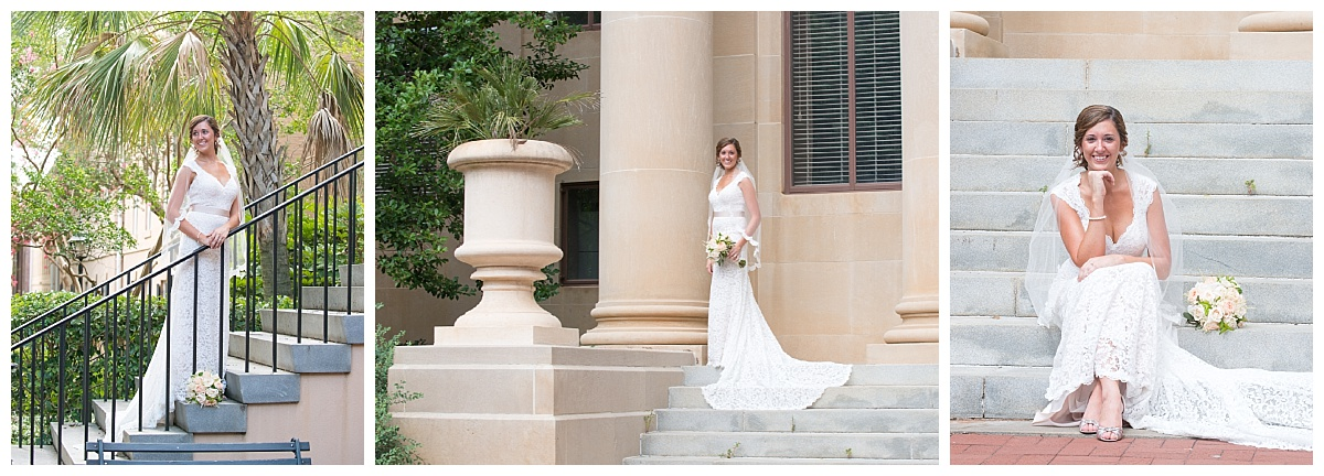 USC Horseshoe bridal portrait with lacy train