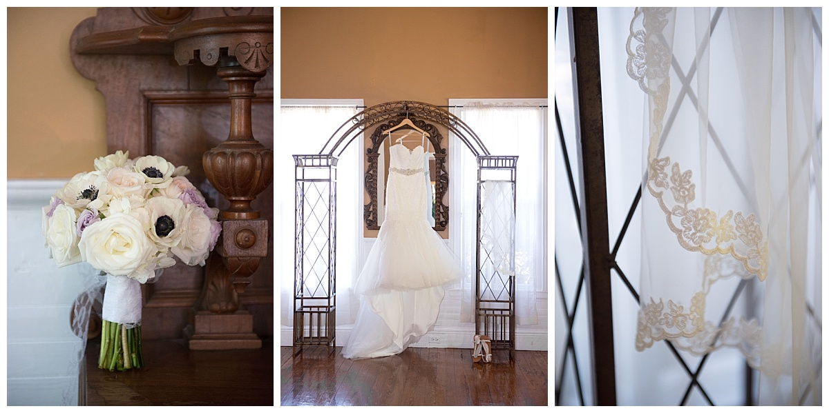 Dress, bouquet and lacy veil at the river road and jasmine house