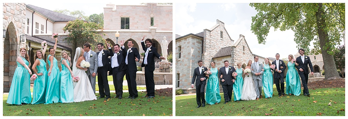 bridal party in teal in the church courtyard