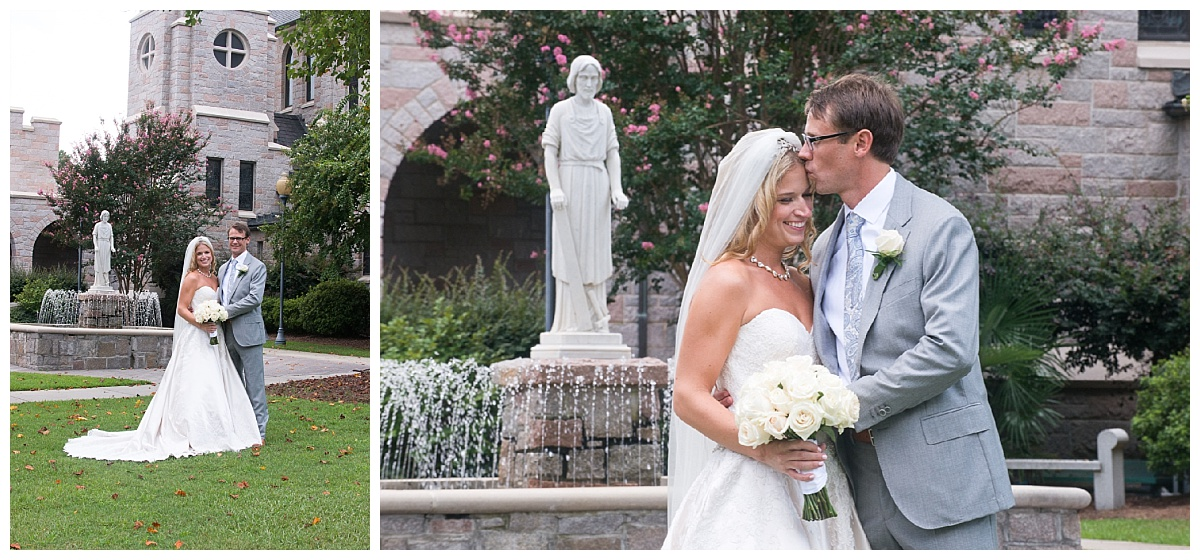 Bride and groom by stone church