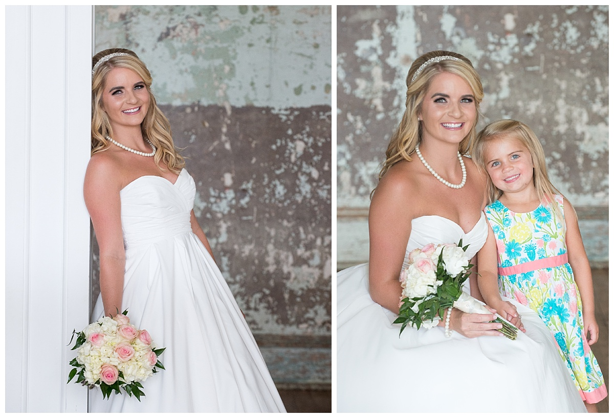 Bridal portrait with flowergirl