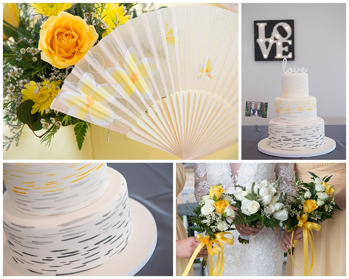 Yellow and grey wedding details