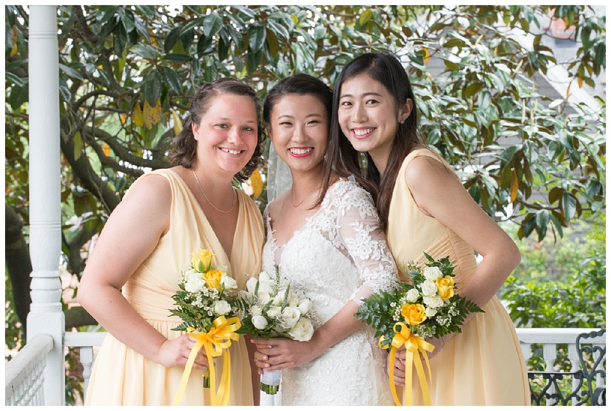 Bridesmaids in pale yellow dresses