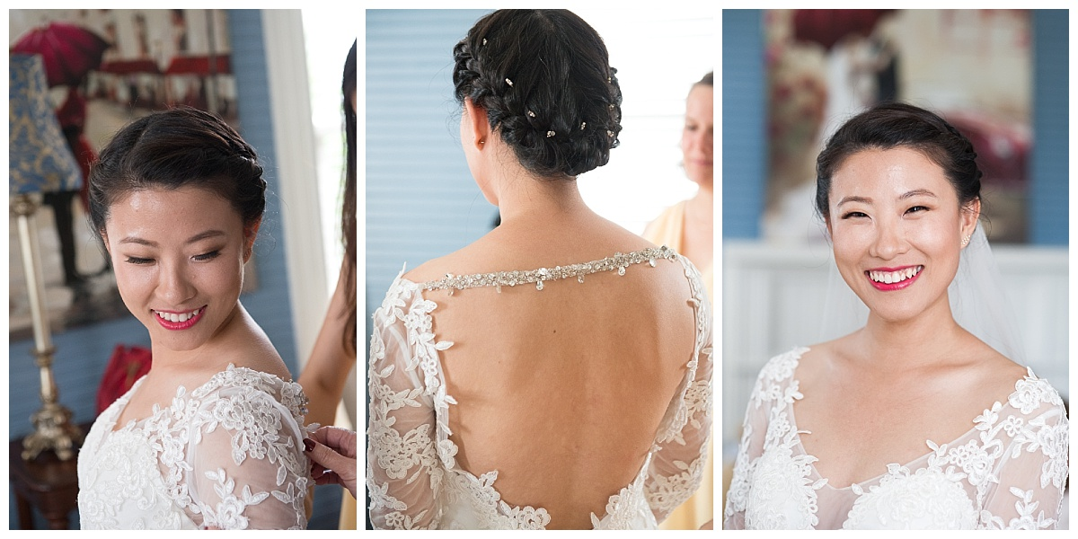 Lacy wedding dress with open back on Asian bride