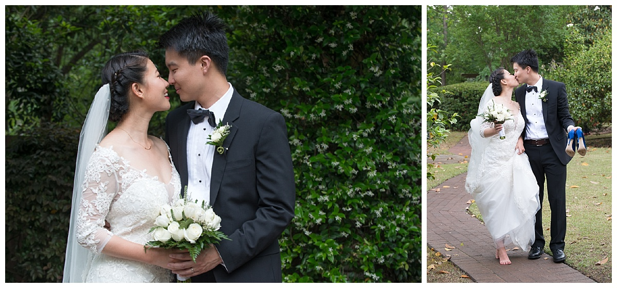 Asian bride and groom outdoor wedding portraits