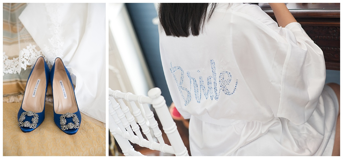 Blue bridal shows and bride robe