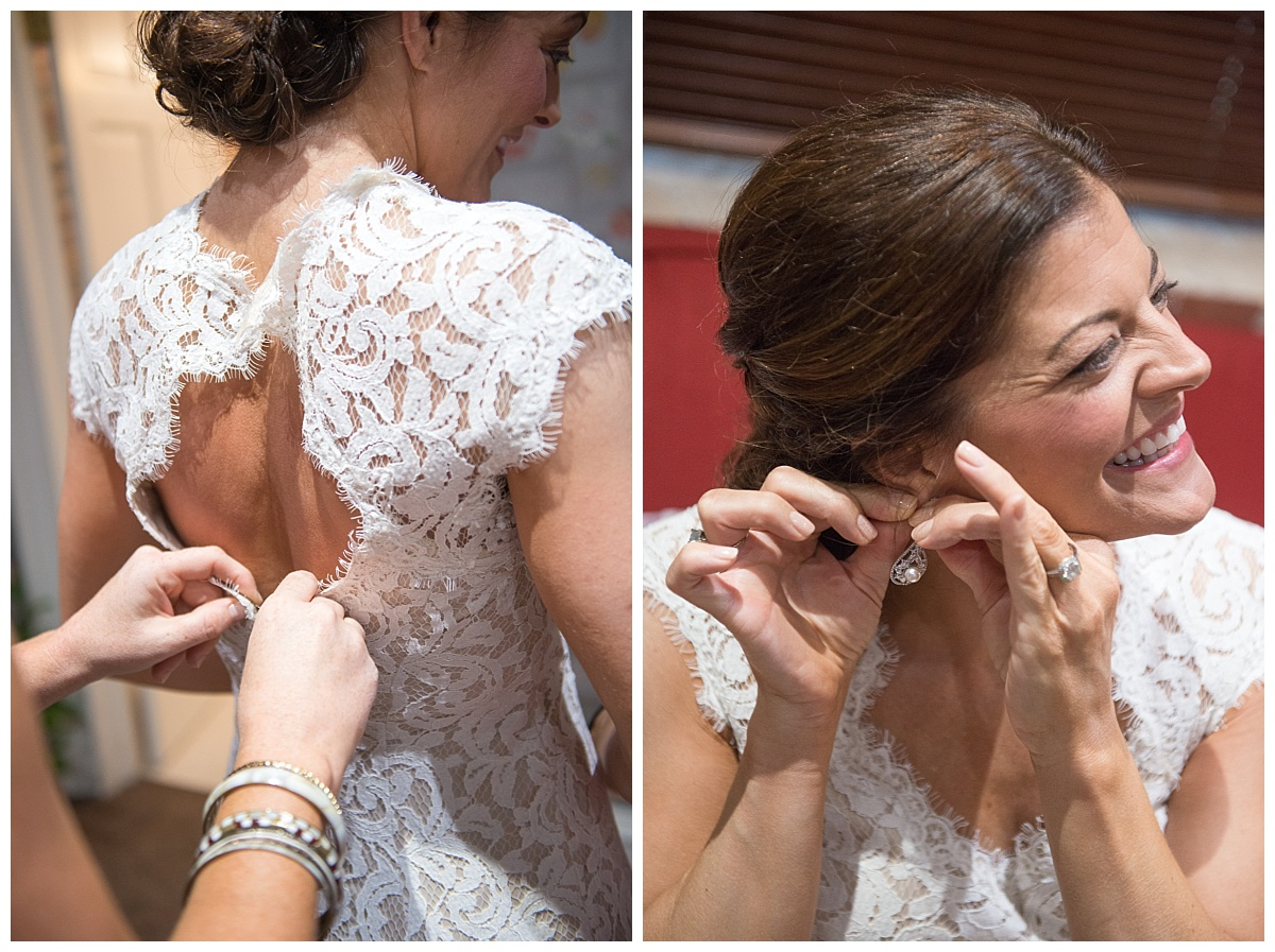 Lacy wedding dress and earrings