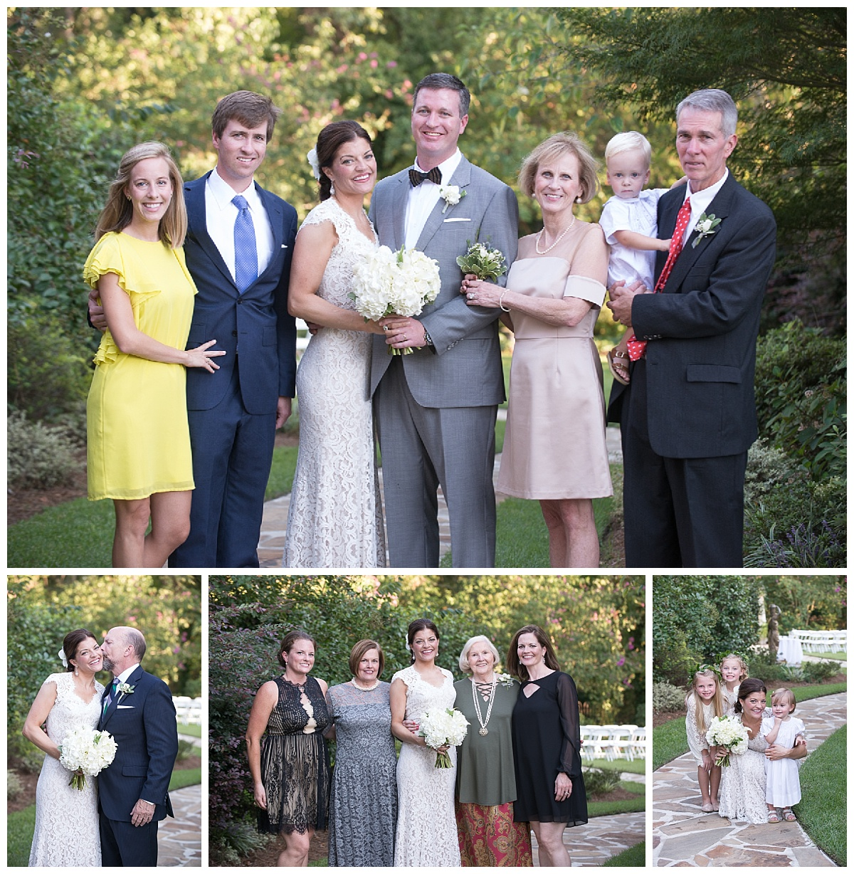 Family portraits at wedding at Senates End