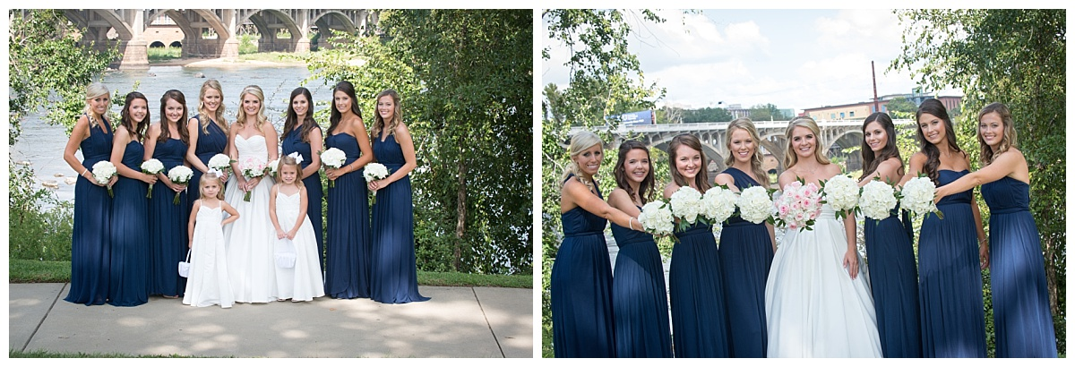 Bridesmaid in navy dresses