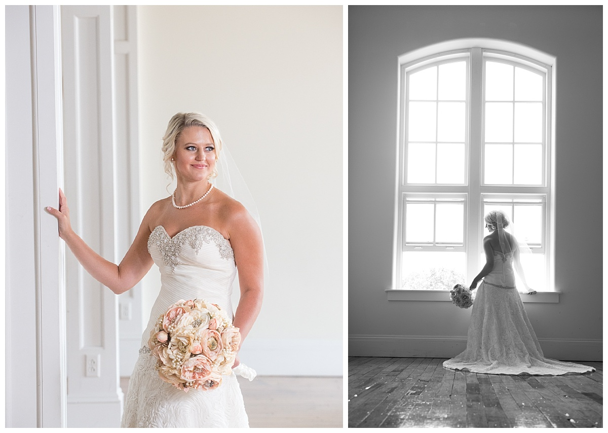 bridal portrait in front of large windows at 701 Whaley