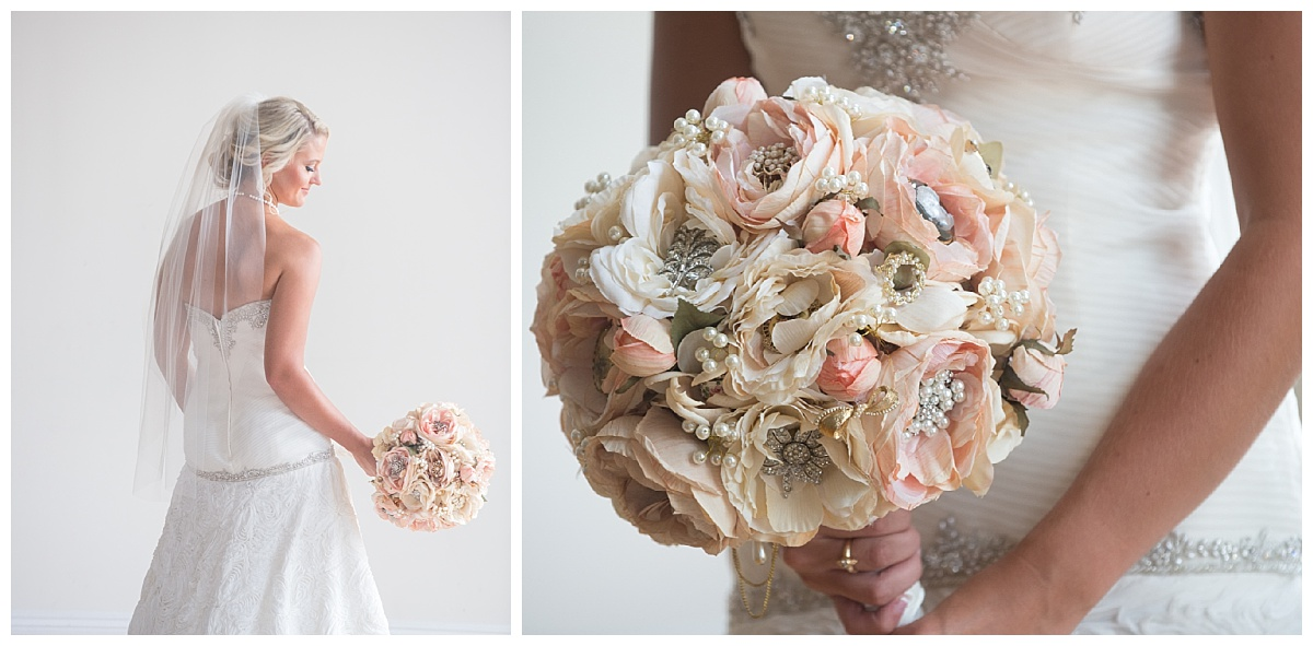 brooch bouquet in bridal portrait
