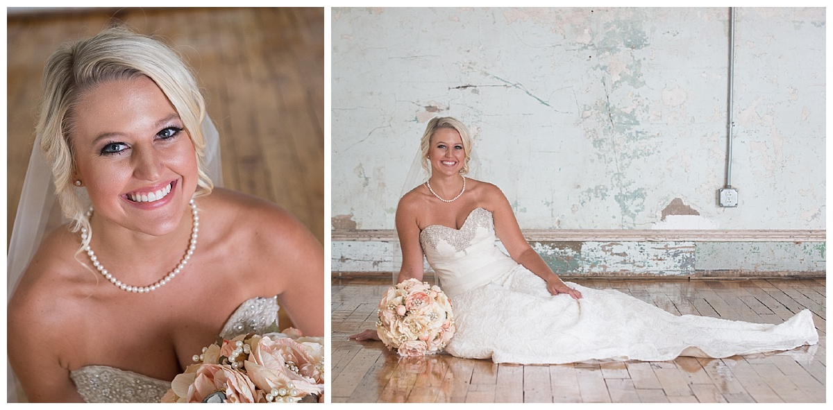 Bridal portrait on wood floor at Olympia Room 701 whaley