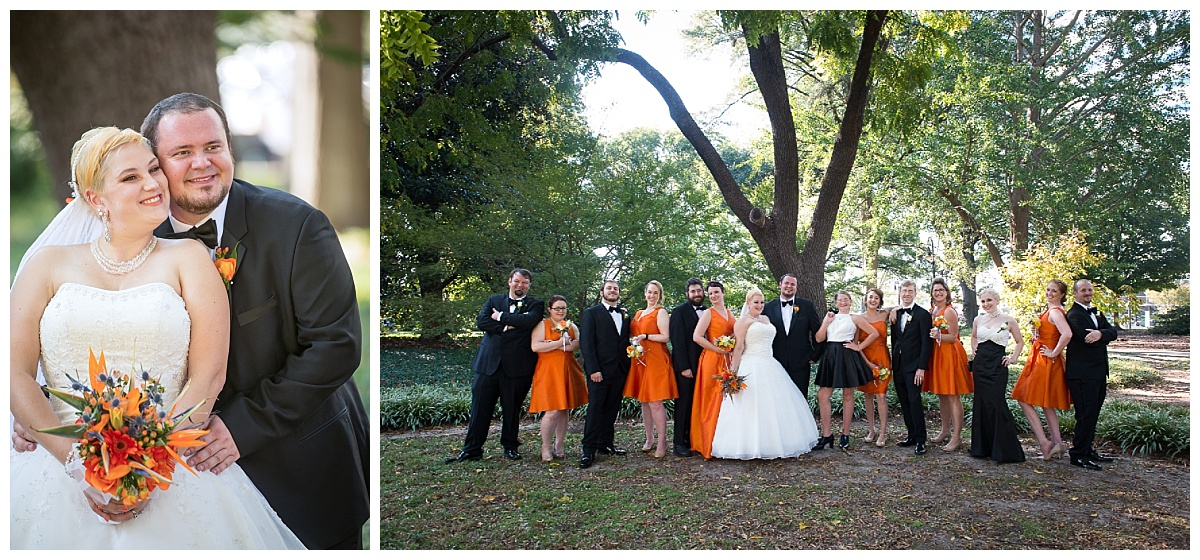 Bridal party in orange at the State House