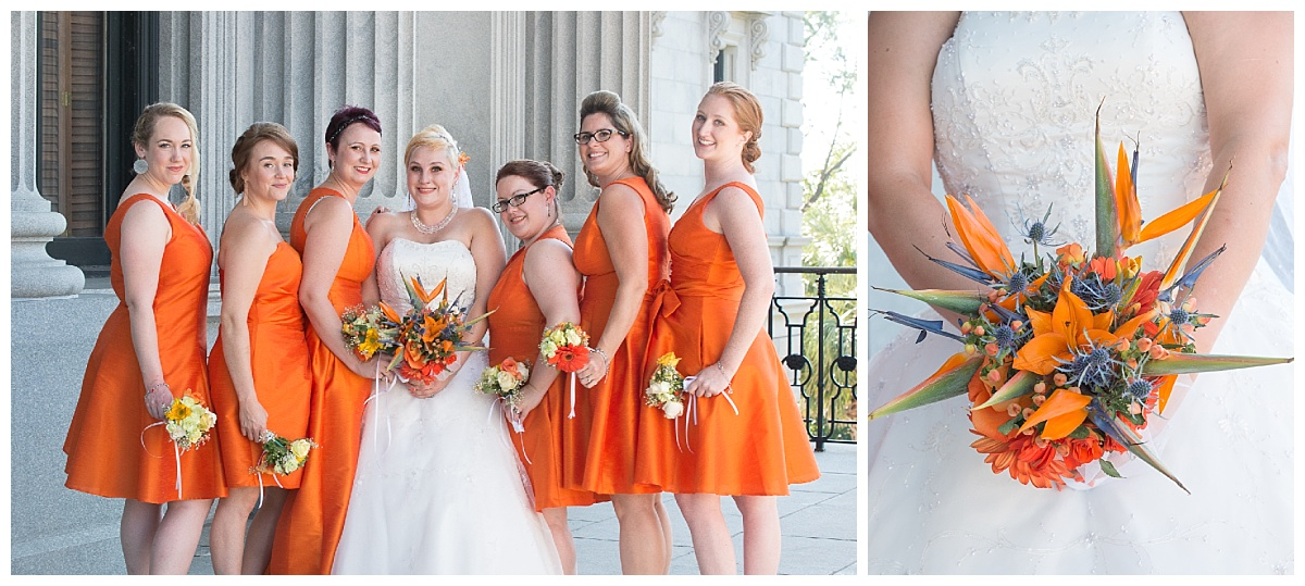 Orange bridesmaids gowns and birds of paradise bouquet