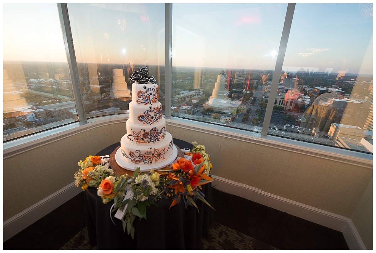 Capital city club view with wedding cake