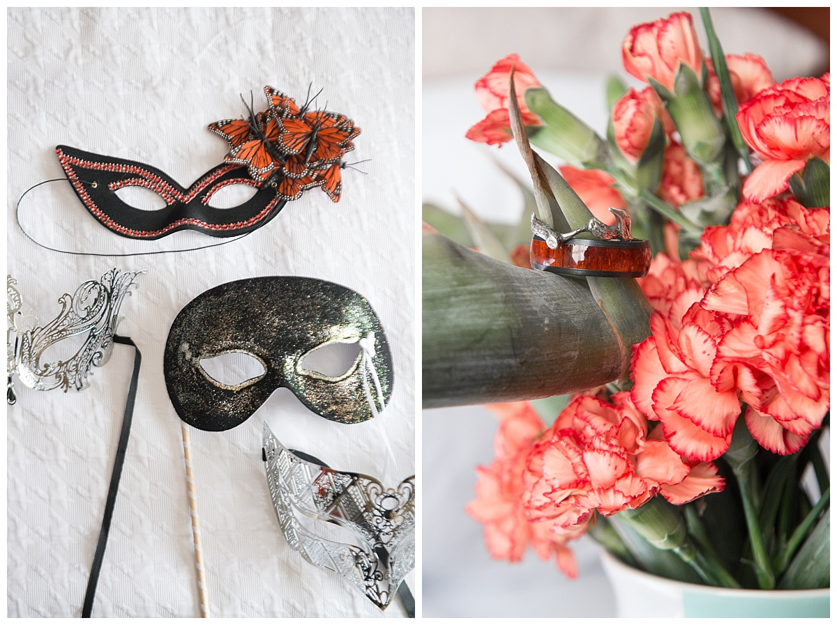 Masquarade Masks and wood wedding ring