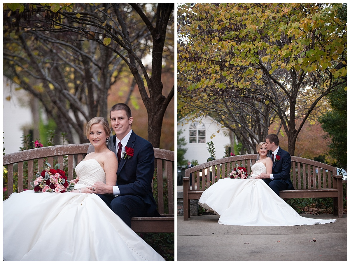Seated bride and groom fall portrait