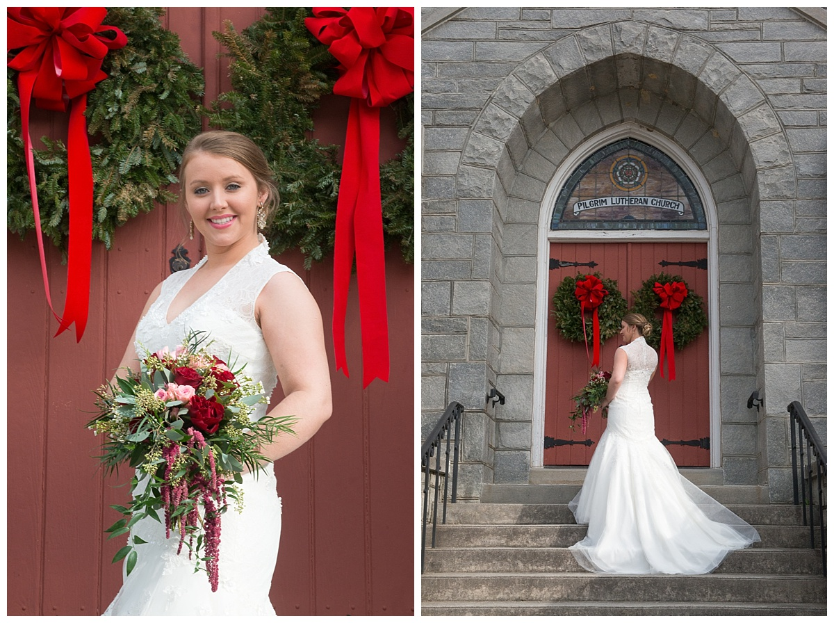 Bride in front of church with red doors