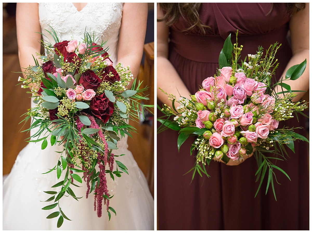 Pink and burgundy bouquets