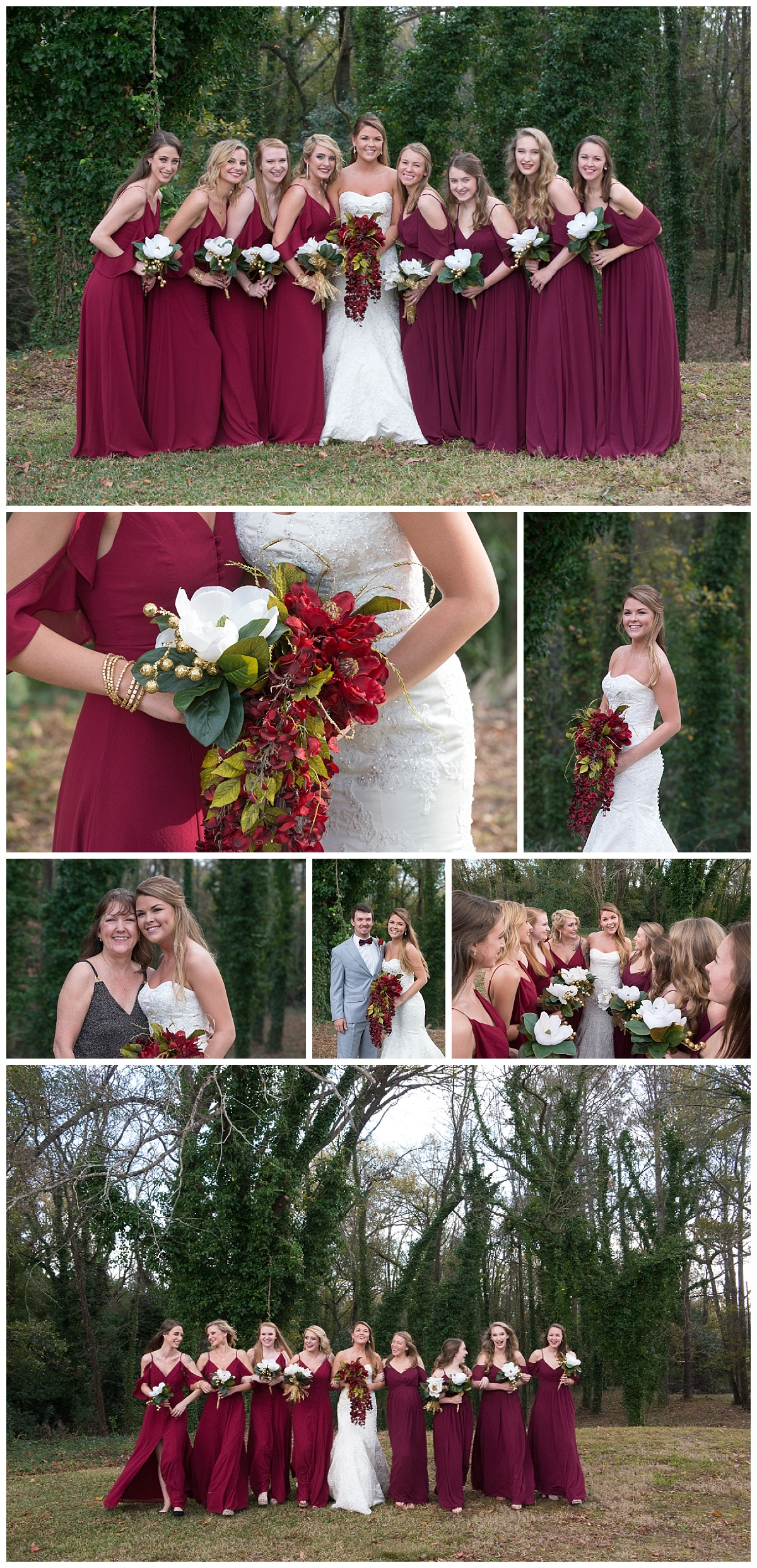 Red bridesmaid dresses with gold accents