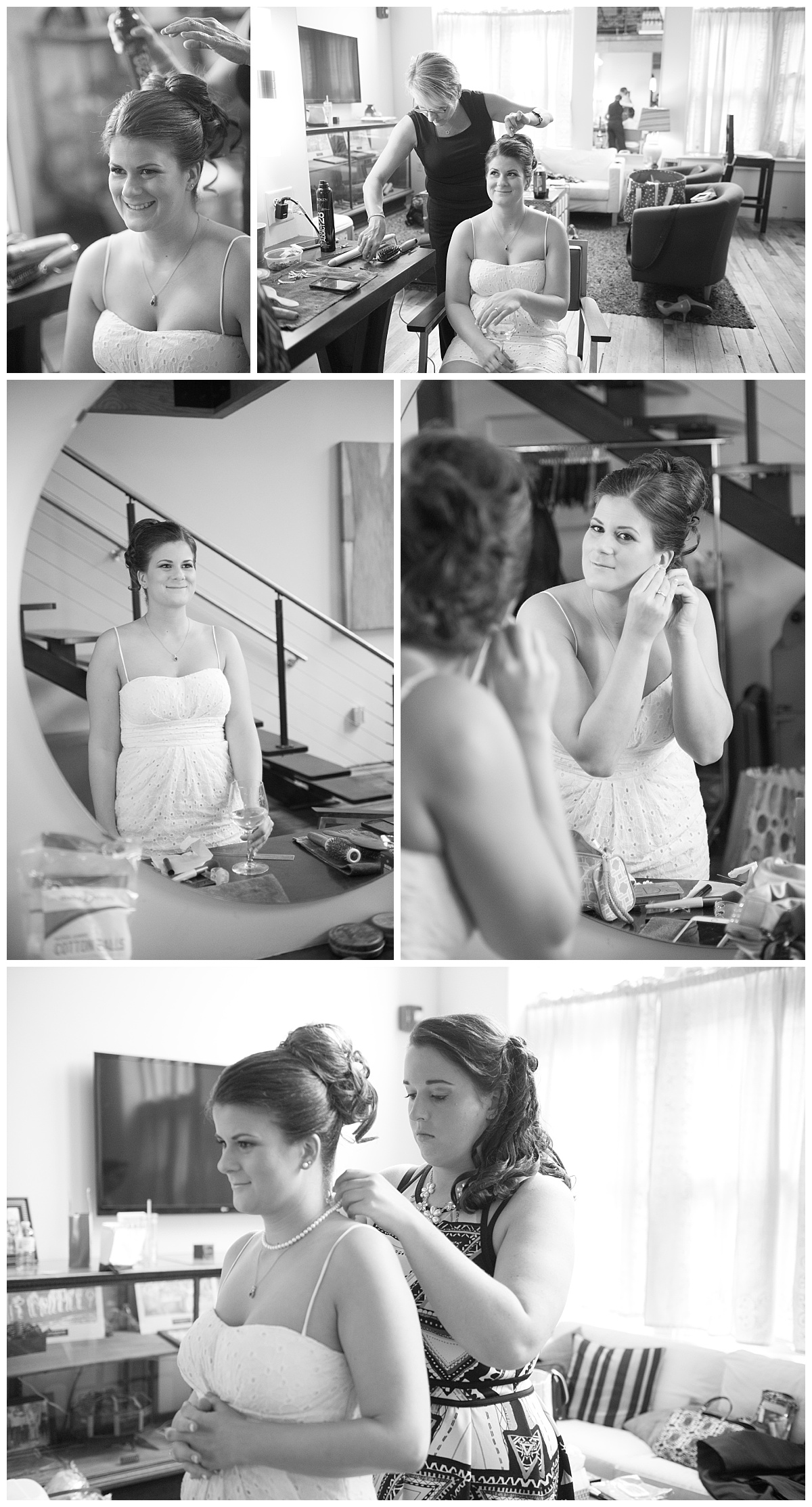 getting ready in the bridal room at 701 whaley