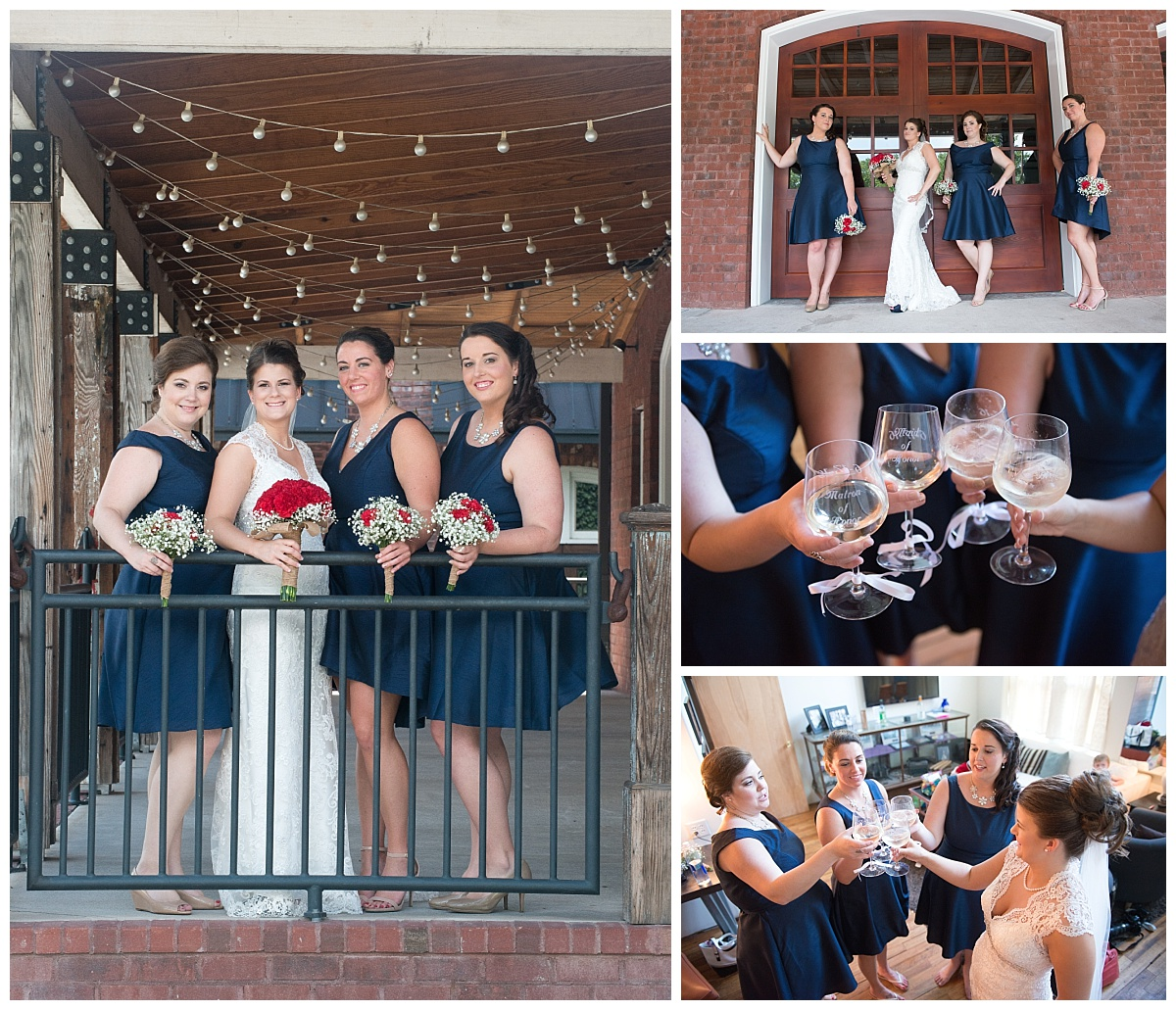 Bridesmaids in navy blue short dresses