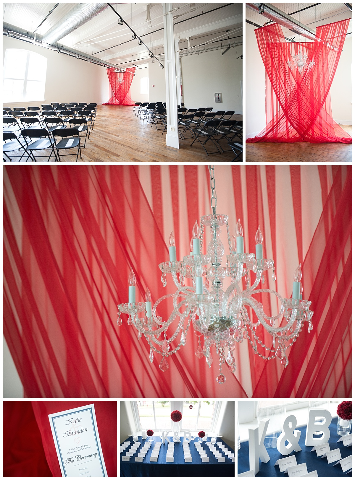 Red drapery ceremony backdrop