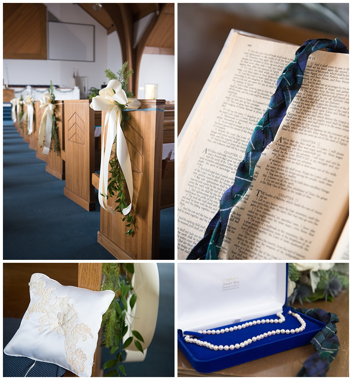tartan wedding ribbon, homemade ring pillow and pearl necklace