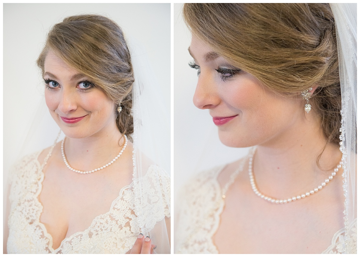 Bride with lace dress and pearls