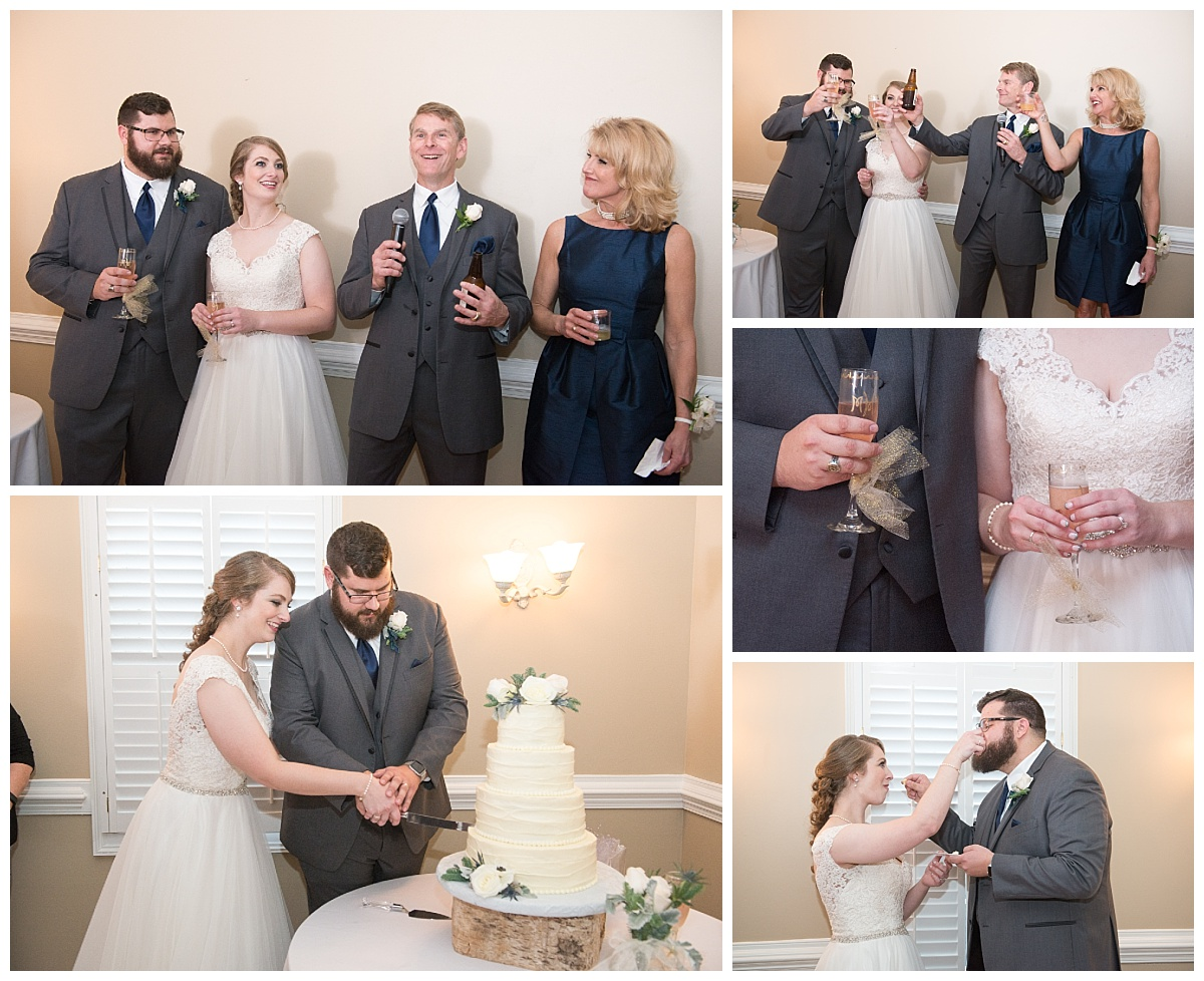 wedding toasts and cake cutting