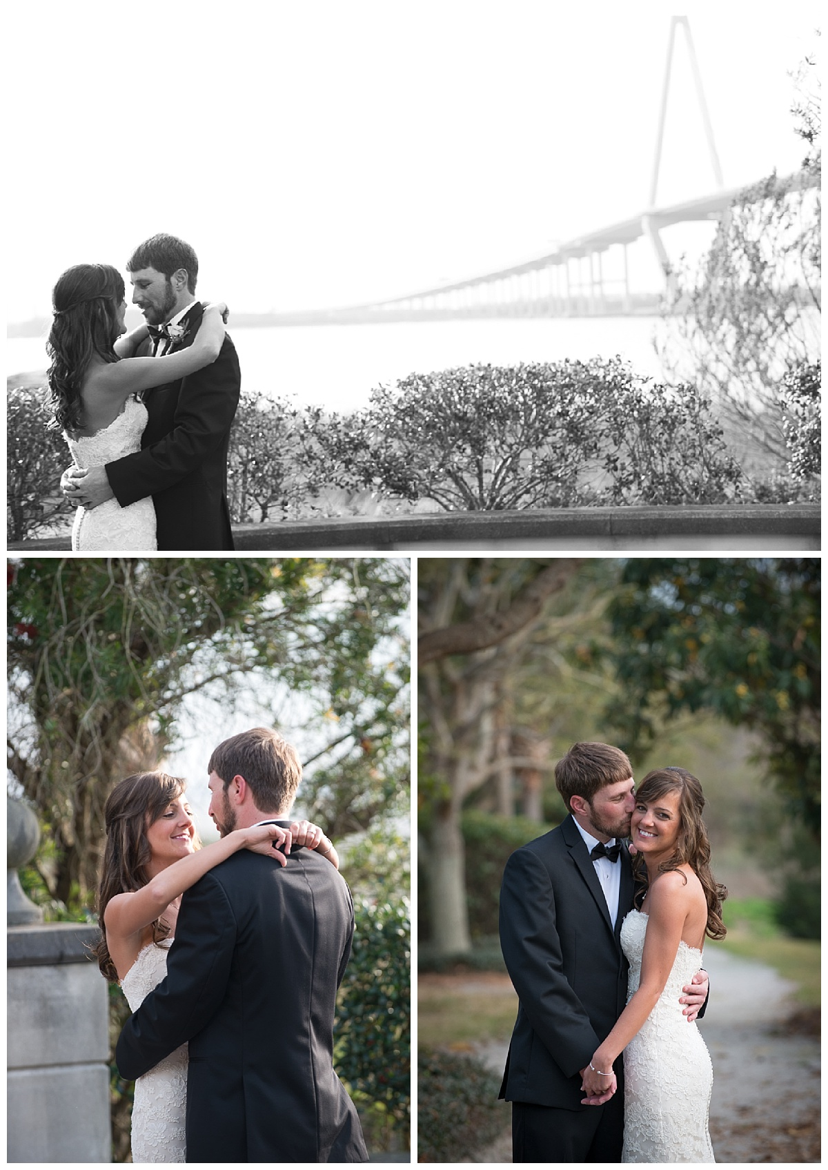 Charleston bride and groom first look at Harborside