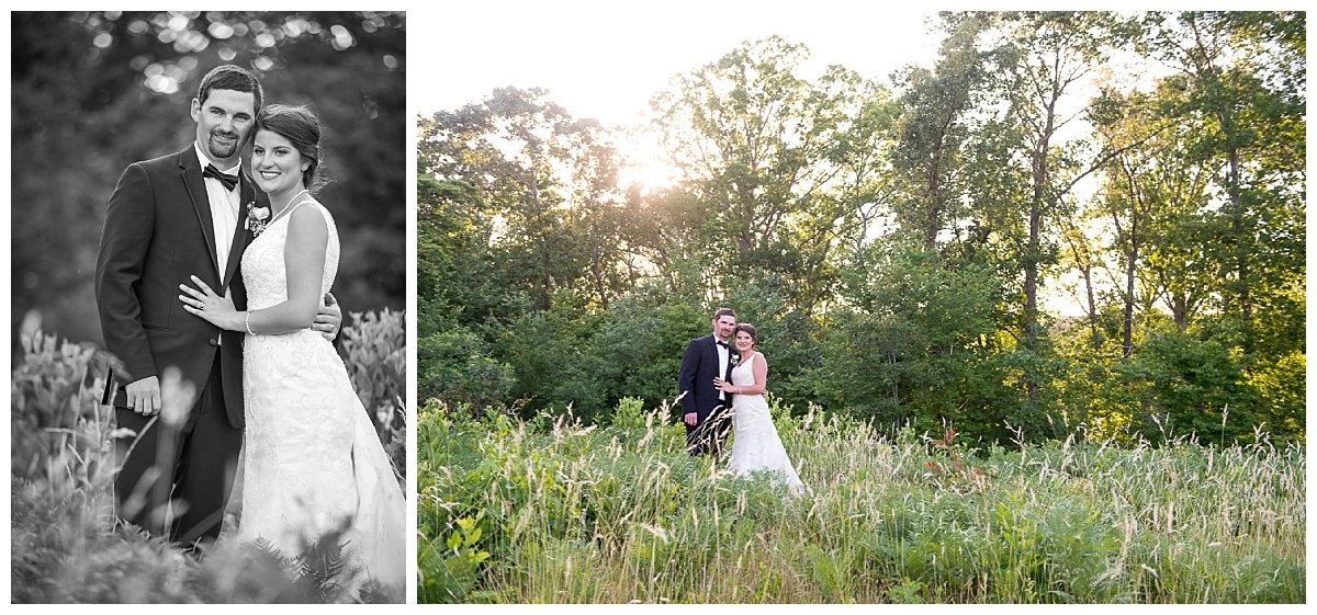 Bride and groom in country field in Gilbert SC