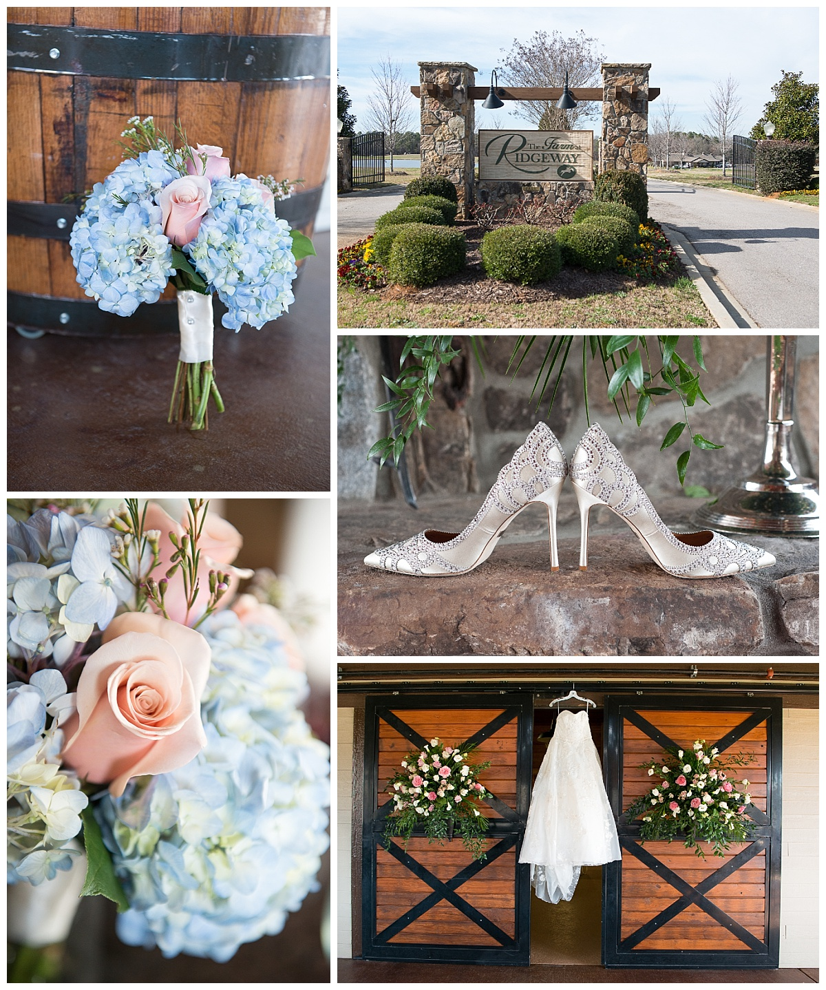 blue and pink bouquet and dress on barn door.