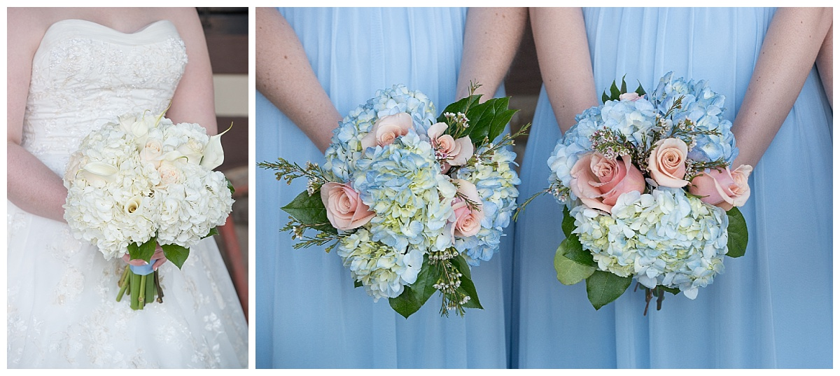 Pastel blue and pink bouquets