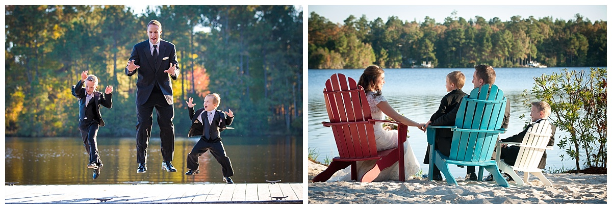 Family wedding photos at the lake house on Lake Carolina