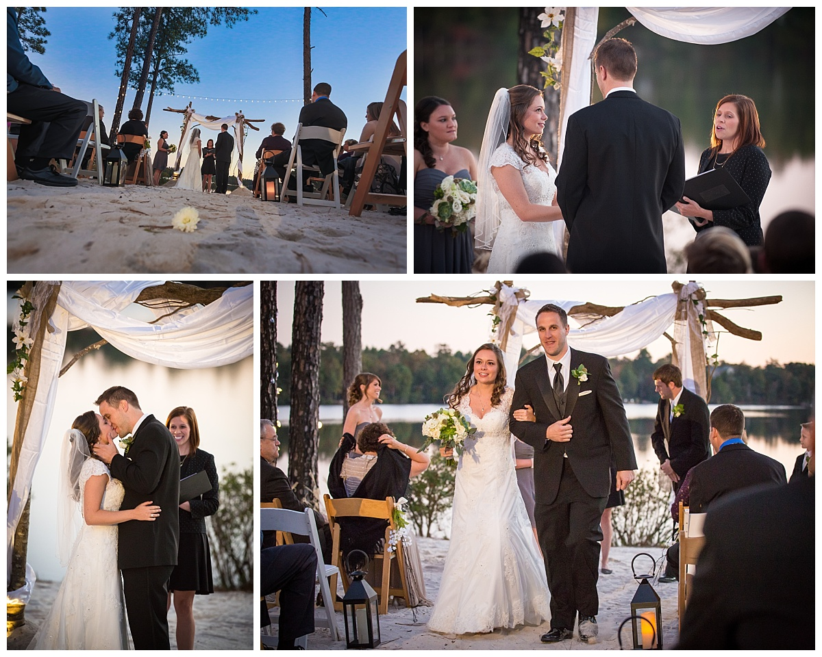 Lake Carolina sunset wedding ceremony