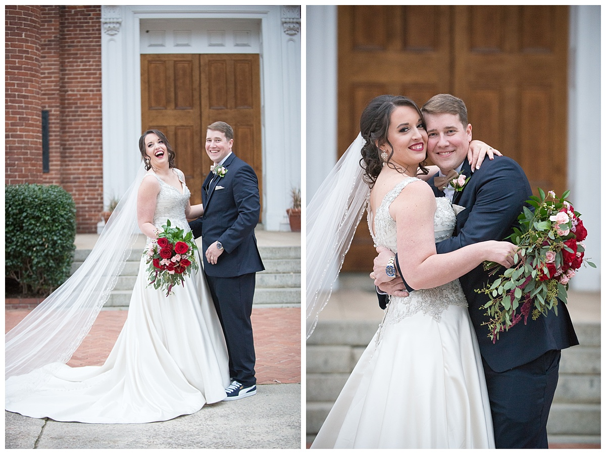 Bride and groom at boyce chapel