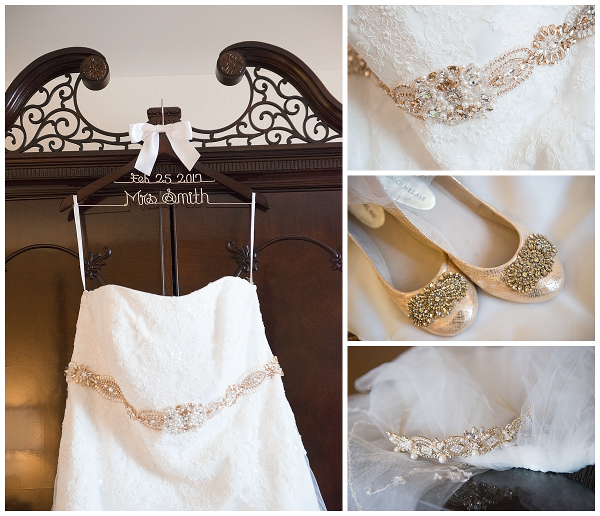 Lacy dress detail and jeweled details