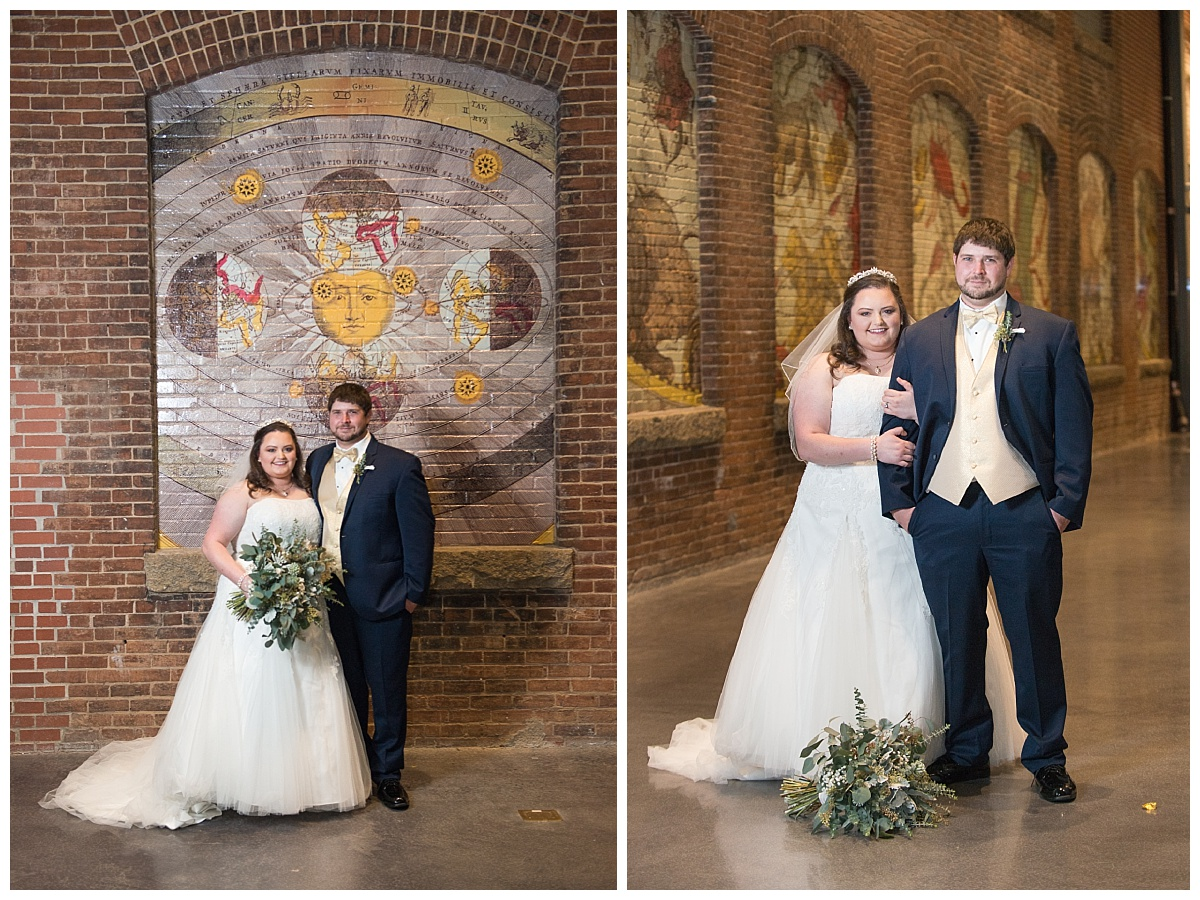 Brick wall bride and groom portrait
