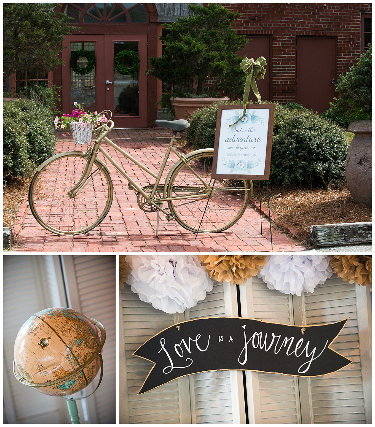 Travel themed wedding with antique bike and globes