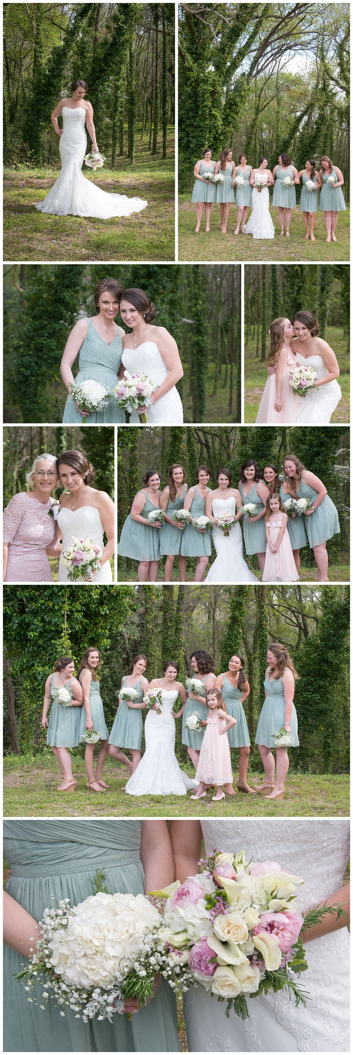 Bridesmaids in mint short dresses with white bouquets