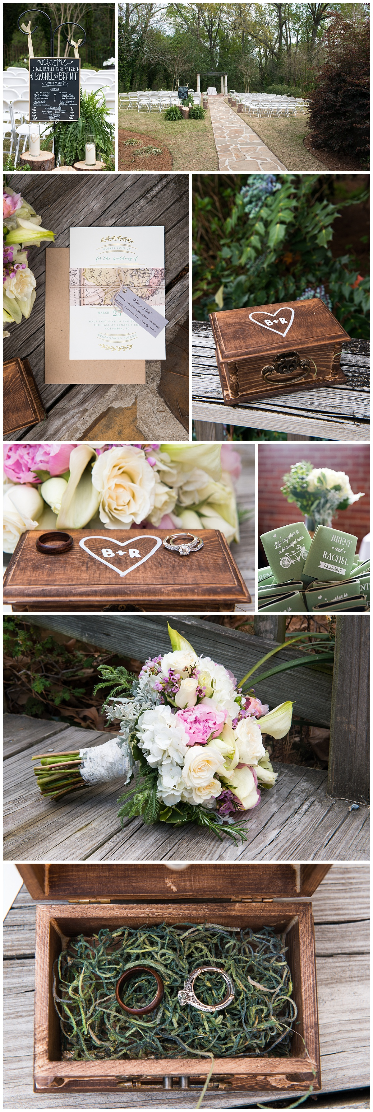 Travel wedding theme invitation and details at Senate's End with wooden ring box