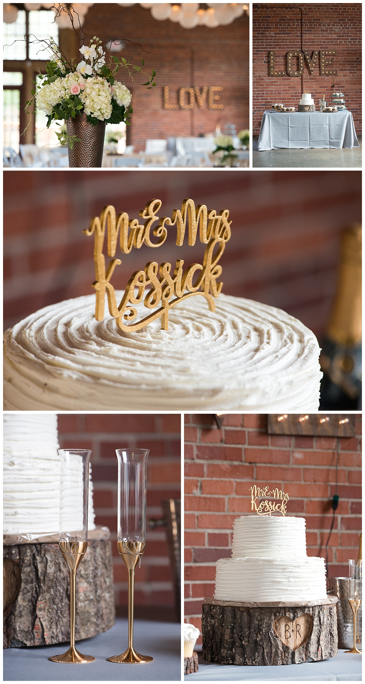 Rustic cake topper and gold champagne glasses