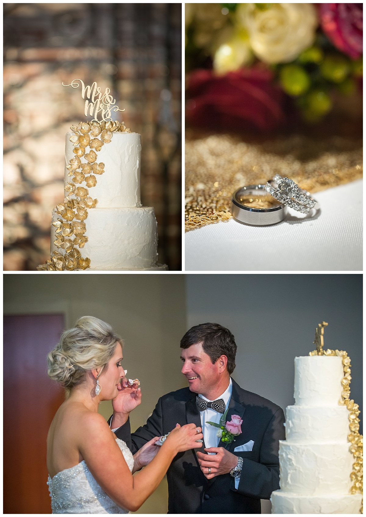 Cake cutting and wedding bands