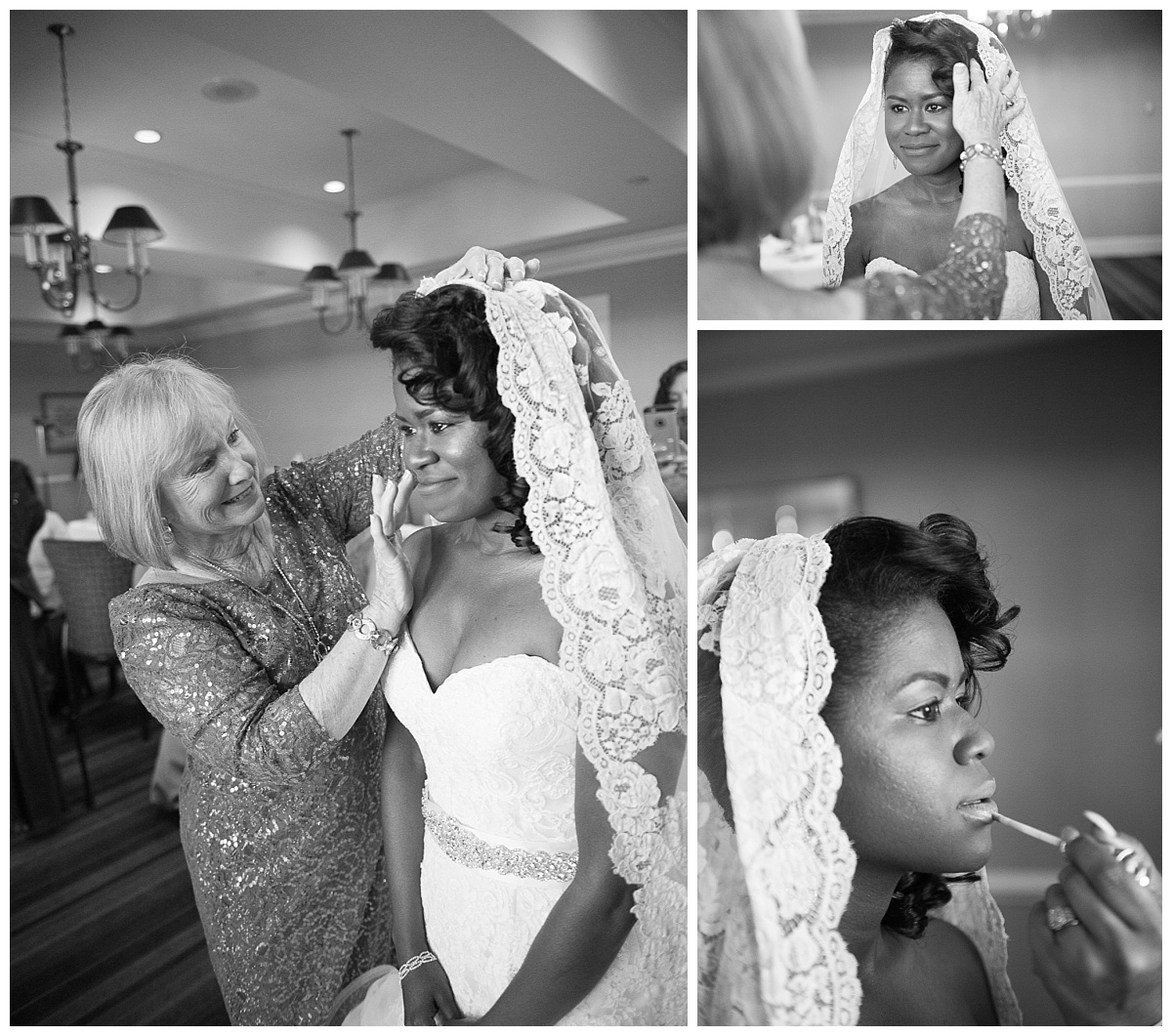 Bride getting ready in B&W